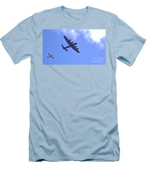Spitfire  Lancaster Bomber Men's T-Shirt (Athletic Fit)