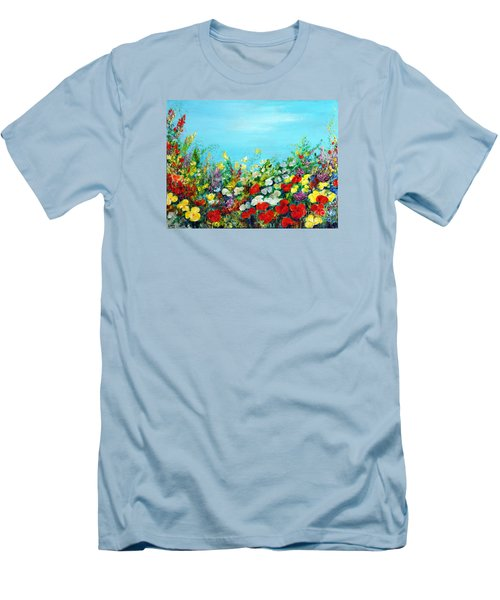 Men's T-Shirt (Slim Fit) featuring the painting Spring In The Garden by Teresa Wegrzyn
