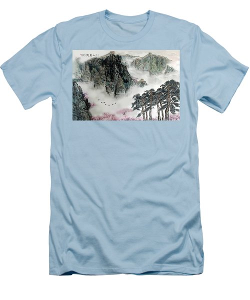 Men's T-Shirt (Slim Fit) featuring the photograph Spring Mountains And The Great Wall by Yufeng Wang