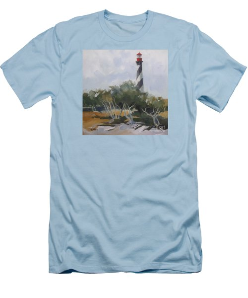St Augustine Lighthouse First Light Men's T-Shirt (Slim Fit) by Mary Hubley