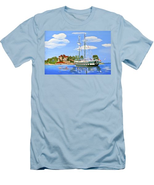 Men's T-Shirt (Slim Fit) featuring the painting St Lawrence Waterway 1000 Islands by Phyllis Kaltenbach