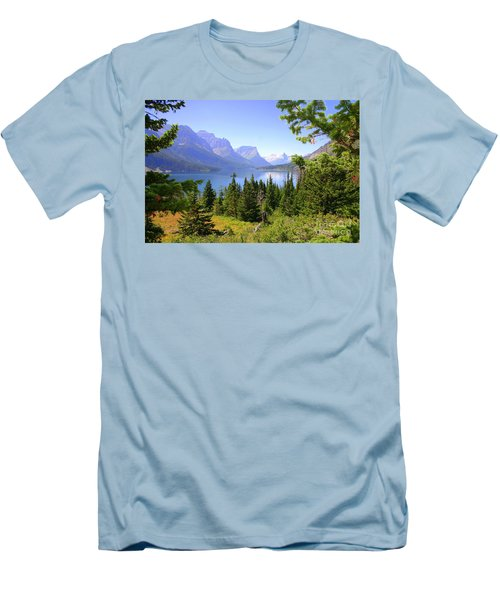 St. Mary Lake Men's T-Shirt (Slim Fit) by Bob Hislop