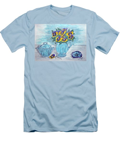 Men's T-Shirt (Slim Fit) featuring the painting Stangl Pottery And Pansies by Kathy Marrs Chandler