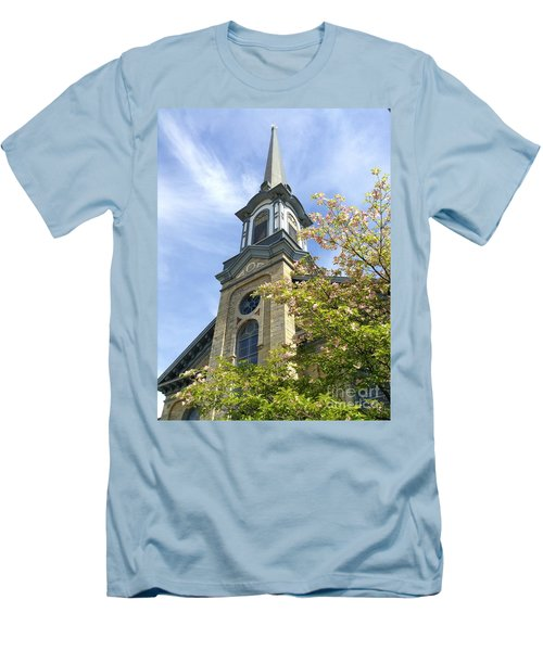 Men's T-Shirt (Slim Fit) featuring the photograph Steeple Church Arch Windows by Becky Lupe
