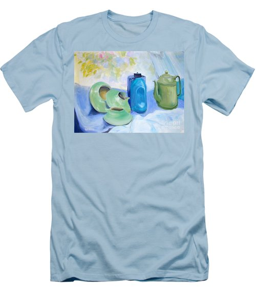 Men's T-Shirt (Slim Fit) featuring the painting Still Life In Blue And Green Pottery by Greta Corens