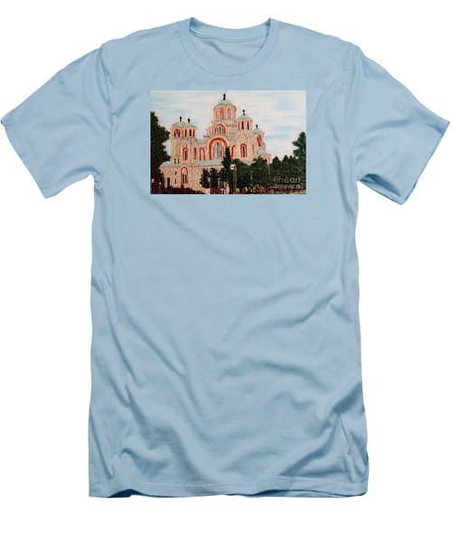 Men's T-Shirt (Slim Fit) featuring the painting St.marko Church Belgrade by Jasna Gopic