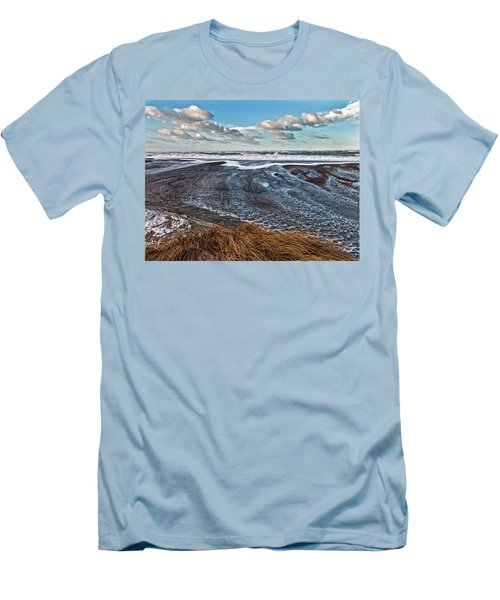 Stormy Beach Men's T-Shirt (Slim Fit) by Mike Santis