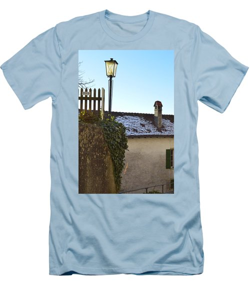 Men's T-Shirt (Slim Fit) featuring the photograph Street Lamp At The Castle  by Felicia Tica