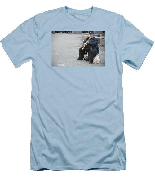 Street Musician - The Gypsy Saxophonist 3 Men's T-Shirt (Slim Fit) by Teo SITCHET-KANDA