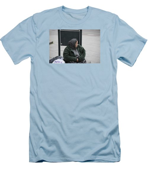 Men's T-Shirt (Slim Fit) featuring the photograph Street People - A Touch Of Humanity 9 by Teo SITCHET-KANDA