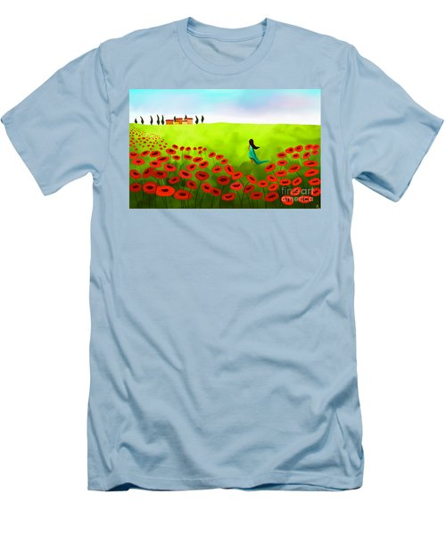 Strolling Among The Red Poppies Men's T-Shirt (Slim Fit) by Anita Lewis