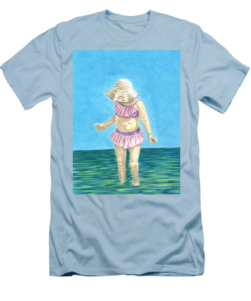 Men's T-Shirt (Slim Fit) featuring the drawing Summer by Troy Levesque