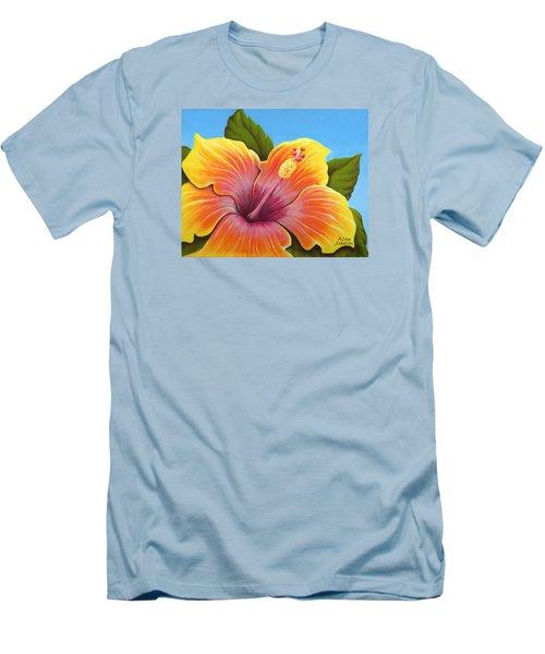 Sunburst Hibiscus Men's T-Shirt (Athletic Fit)