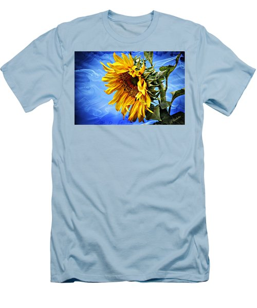 Men's T-Shirt (Slim Fit) featuring the photograph Sunflower Fantasy by Barbara Chichester