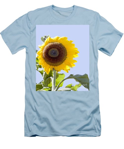 Men's T-Shirt (Slim Fit) featuring the photograph Sunflower In The Blue Sky by David Millenheft