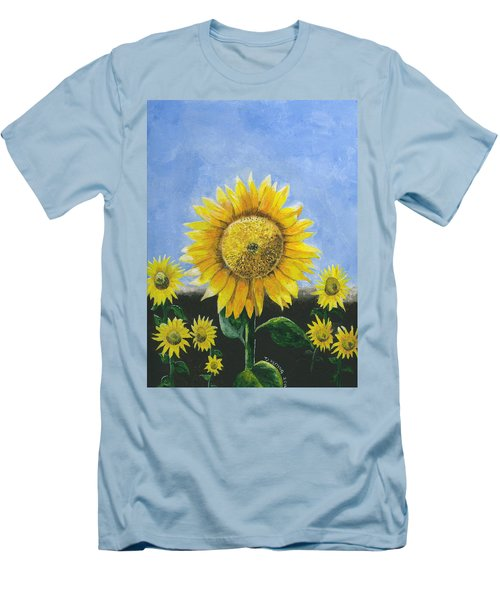 Men's T-Shirt (Athletic Fit) featuring the painting Sunflower Series One by Thomas J Herring