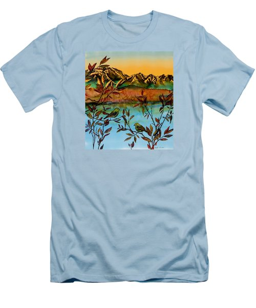 Sunrise On Willows Men's T-Shirt (Slim Fit) by Carolyn Doe