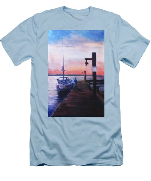Men's T-Shirt (Slim Fit) featuring the painting Sunset At Rocky Point by Sher Nasser
