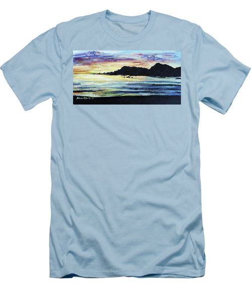 Men's T-Shirt (Slim Fit) featuring the painting Sunset Beach by Shana Rowe Jackson