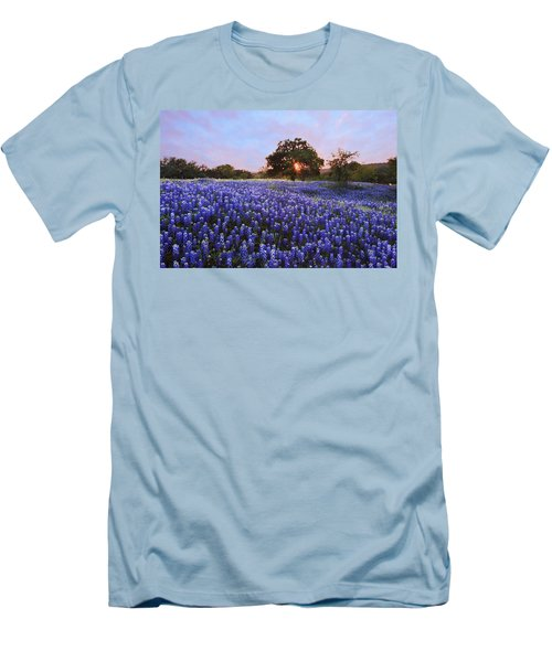 Sunset In Bluebonnet Field Men's T-Shirt (Athletic Fit)
