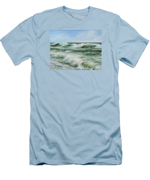 Men's T-Shirt (Slim Fit) featuring the painting Surf At Castlerock by Barry Williamson