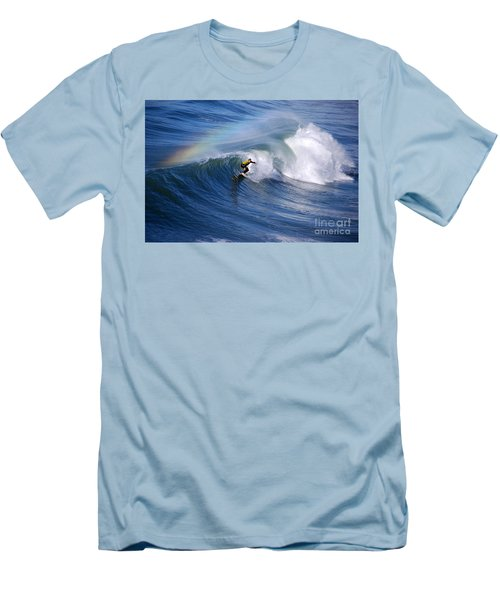 Surfing Under A Rainbow Men's T-Shirt (Slim Fit) by Catherine Sherman