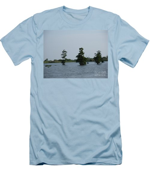 Men's T-Shirt (Slim Fit) featuring the photograph Swamp Tall Cypress Trees  by Joseph Baril