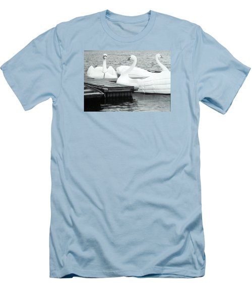 Men's T-Shirt (Slim Fit) featuring the photograph White Swan Lake by Belinda Lee