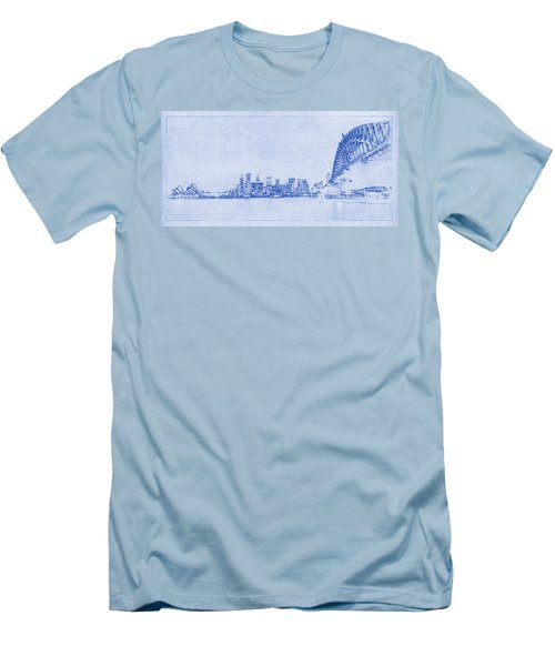 Sydney Skyline Blueprint Men's T-Shirt (Slim Fit) by Kaleidoscopik Photography