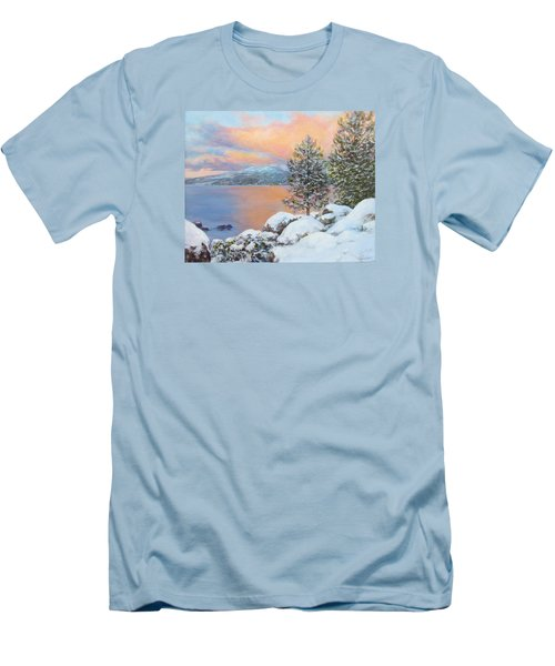 Tahoe Winter Colors Men's T-Shirt (Slim Fit) by Donna Tucker