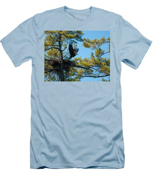 Men's T-Shirt (Slim Fit) featuring the photograph Taking Flight by Brenda Jacobs