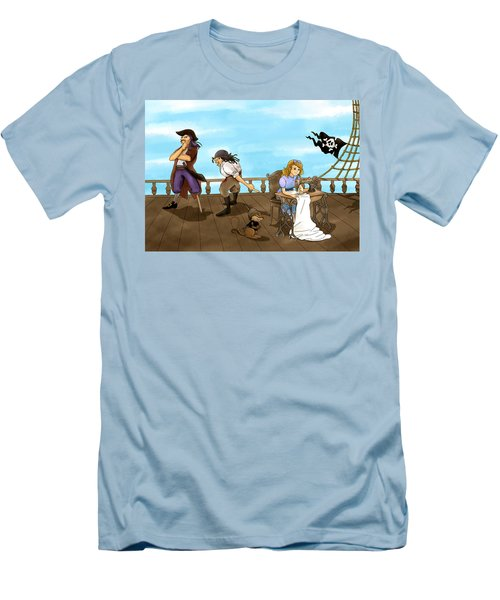 Men's T-Shirt (Slim Fit) featuring the painting Tammy And The Pirates by Reynold Jay