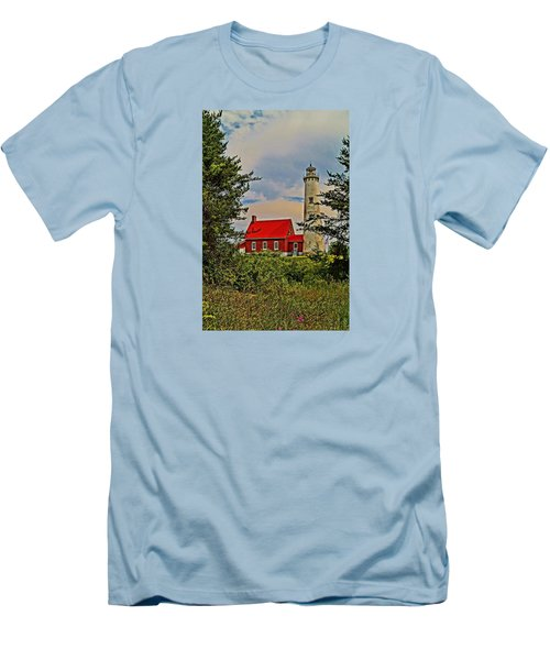 Tawas Point Light Retro Mode Men's T-Shirt (Slim Fit) by Daniel Thompson