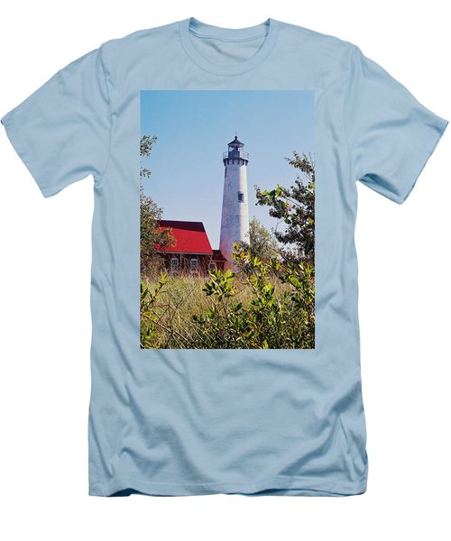 Men's T-Shirt (Slim Fit) featuring the photograph Tawas Point Lighthouse...from Tawas Bay Side by Daniel Thompson