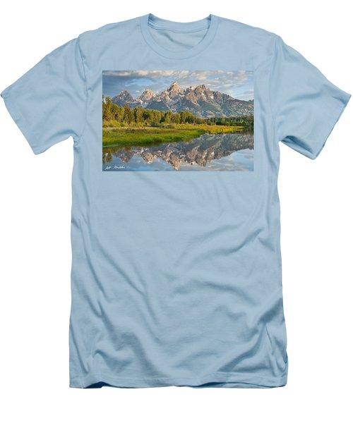 Teton Range Reflected In The Snake River Men's T-Shirt (Slim Fit) by Jeff Goulden