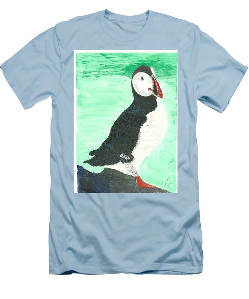 Men's T-Shirt (Slim Fit) featuring the painting That's Another Puffin Year Over by Tracey Williams