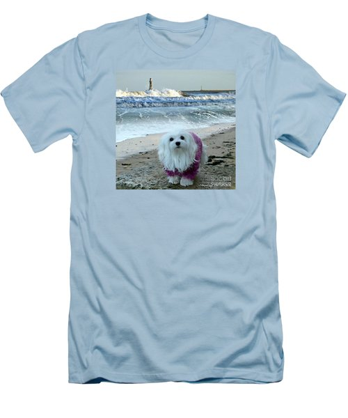 Men's T-Shirt (Slim Fit) featuring the mixed media The Beach In Winter by Morag Bates