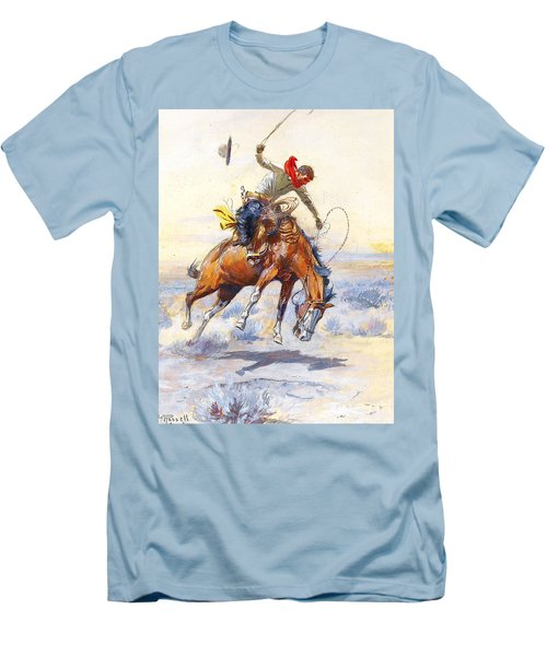 The Bucker By Charles M Russell Men's T-Shirt (Slim Fit) by Pg Reproductions