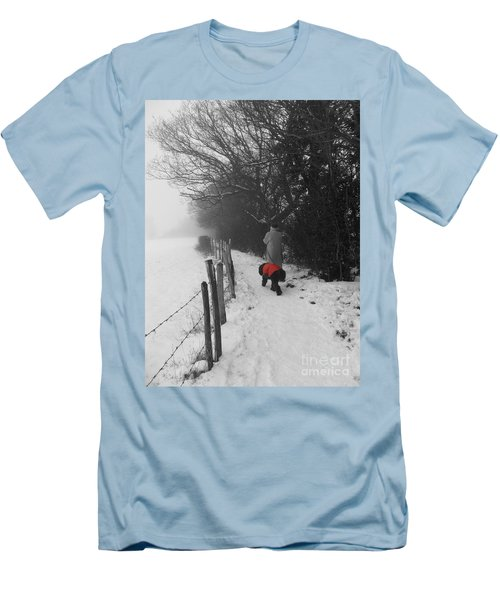 Men's T-Shirt (Slim Fit) featuring the photograph The Dog In The Red Coat by Vicki Spindler
