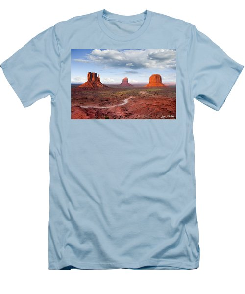The Mittens And Merrick Butte At Sunset Men's T-Shirt (Slim Fit) by Jeff Goulden