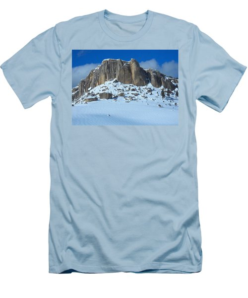 Men's T-Shirt (Slim Fit) featuring the photograph The Mountain Citadel by Michele Myers