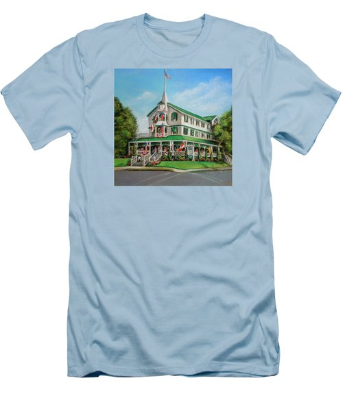 Men's T-Shirt (Slim Fit) featuring the painting The Parker House by Melinda Saminski