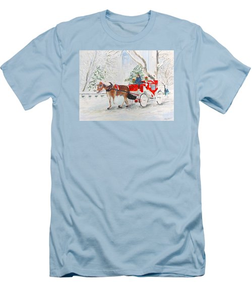 Men's T-Shirt (Slim Fit) featuring the painting The Quiet Ride by Beth Saffer