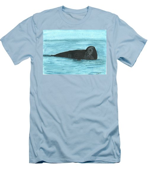 Men's T-Shirt (Slim Fit) featuring the painting The Seal by Tracey Williams
