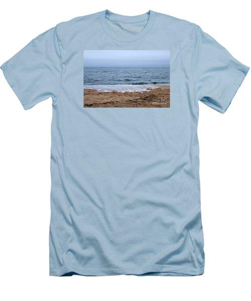 The Splash Over On A Sandy Beach Men's T-Shirt (Slim Fit) by Eunice Miller
