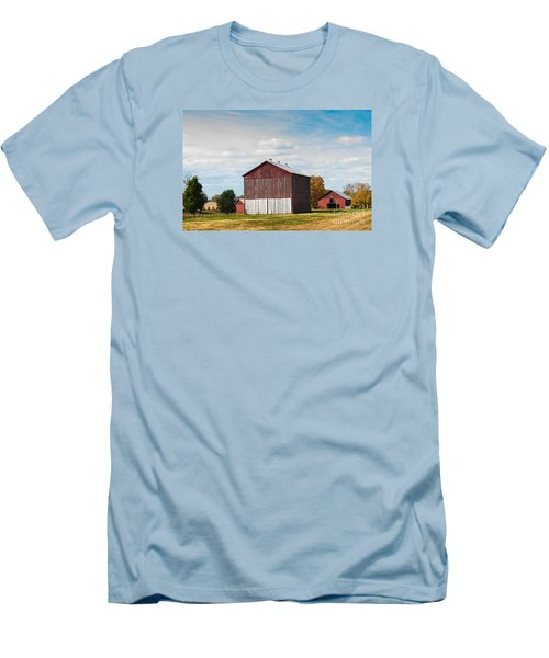 Men's T-Shirt (Slim Fit) featuring the photograph Three In One Barns by Debbie Green