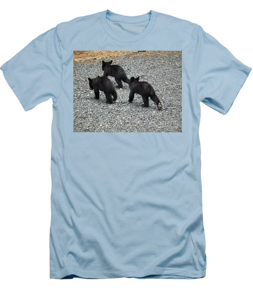Men's T-Shirt (Slim Fit) featuring the photograph Three Little Bears In Step by Jan Dappen
