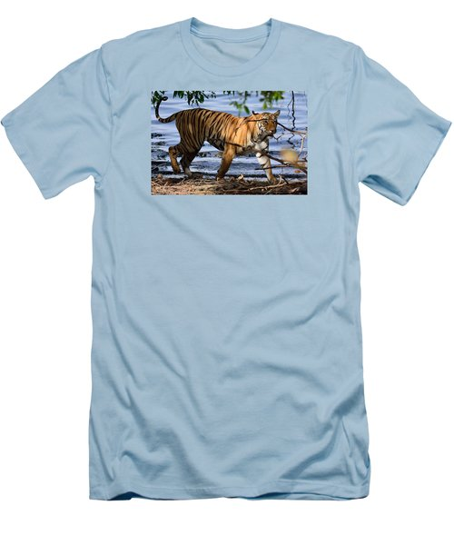 Tigress Along The Banks Men's T-Shirt (Slim Fit) by Fotosas Photography