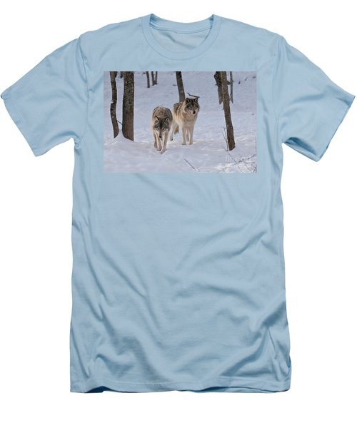 Men's T-Shirt (Slim Fit) featuring the photograph Timber Wolf Pair  by Wolves Only