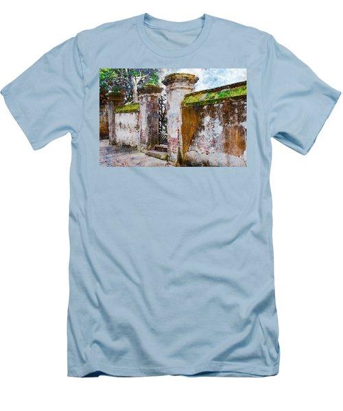 Men's T-Shirt (Slim Fit) featuring the photograph Brick Wall Charleston South Carolina by Vizual Studio
